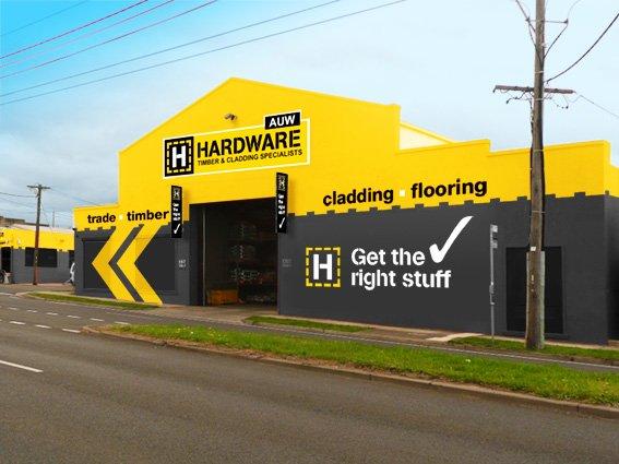 Hardware store exterior signage