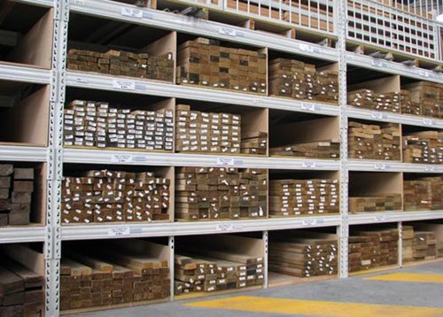 Pigeon hole shelving for timber storage