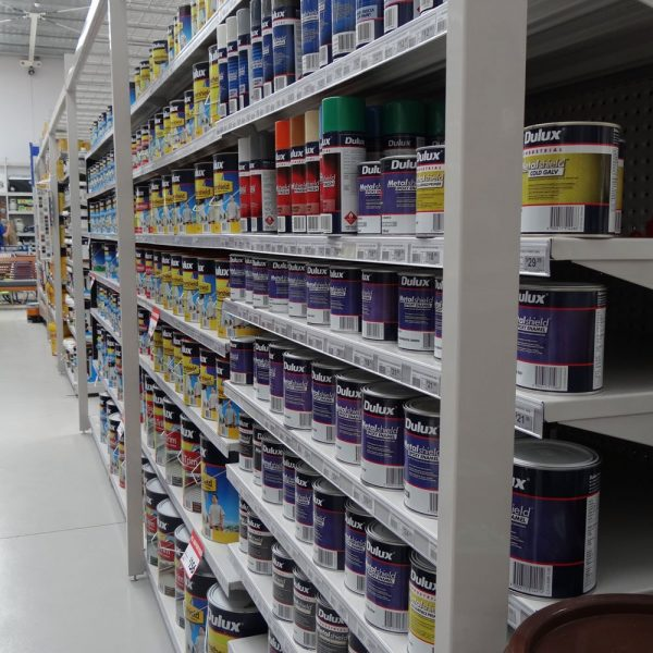 Shelving system for paint and hardware