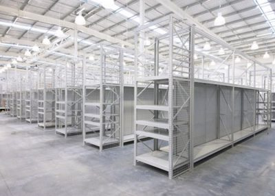 Warehouse shelving for a hardware store